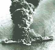 Liberty ship on fire
